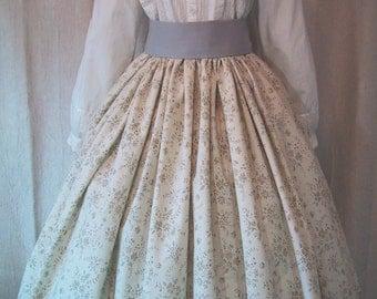 Long Skirt for Costume - Victorian 19th Century Fashion - Civil War Reenactment - Pioneer - Pale Beige Floral Print Cotton Fabric - Handmade