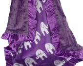Purple Elephant Minky Baby Blanket, Purple Elephant Jungle Print Baby Blanket, can be - available in three sizesCan Be Personalized