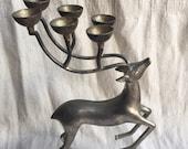 Godinger Reindeer Candelabra - silver-plated reindeer - holiday decor - 1970s vintage reindeer - X-mas decor - Christmas candle holder