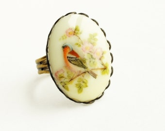Floral Bird Ring Vintage Bird Cameo Ring Bird in Tree Jewelry Victorian Bird Adjustable Ring Finch Jewelry
