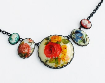 Floral Statement Necklace Large Vintage Floral Pendant Victorian Cameo Necklace Flower Jewelry Bridal