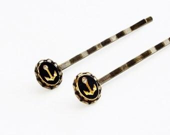 Anchor Hair Pins Nautical Bobby Pins Gold Black Rhinestone Hairpins Antiqued Brass Nautical Accessories