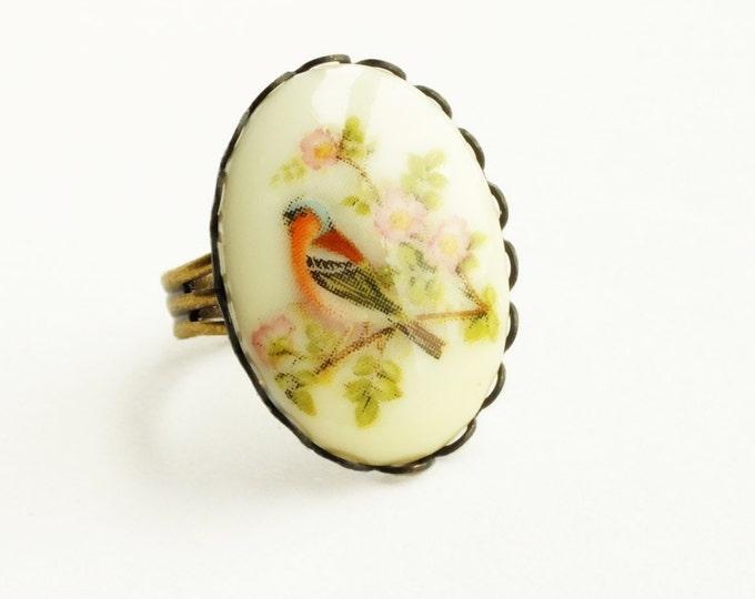 Floral Bird Ring Vintage Bird Cameo Ring Bird in Tree Jewelry Victorian Bird Adjustable Ring Finch Jewelry