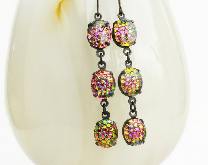 Pink Green Earrings Color Changing Jewelry Colorful Iridescent Glass Earrings Rainbow Vintage Honeycomb Thousand Eyes Jewelry Rainbow