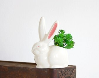 Vintage Ceramic Rabbit Planter / Mid Century Bunny Plant Pot
