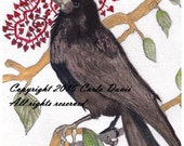 Holiday card or photo art print raven with garland seasons greetings blank inside for unique message raven or crow nature theme Christmas