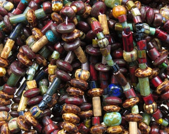Old World Aged Picasso Seed, Bugle, Saucer and Tile Czech Glass Bead Mix - 6 Strand Hank (AW195)