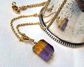 Ametrine Necklace Ametrine Nugget Gemstone Dangle Pendant 14kt Gold Fill - November Birthstone
