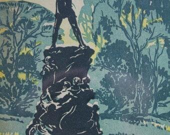"Peter Pan Print Framed Original c.1930 J M Barrie Kensington Gardens London England 9"" x 7"" Wide"