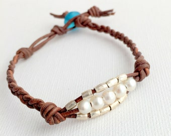Rustic Brown Leather Bracelet / Anklet.  Freshwater Pearls, African Coin Silver, Recycled Glass and Antiqued Leather.