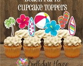 Beach Party - Beach Party Collection, Set of 24 Assorted Beach Party Cupcake Toppers by The Birthday House
