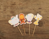 Belle & Friends Party - Set of 12 Belle's Friends Assorted Cupcake Toppers by The Birthday House