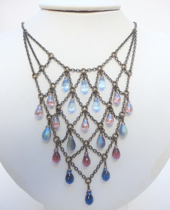 Purple and Blue Necklace - Harlequin-Style Necklace with Purple and Blue Glass Drops with Bronze Chain