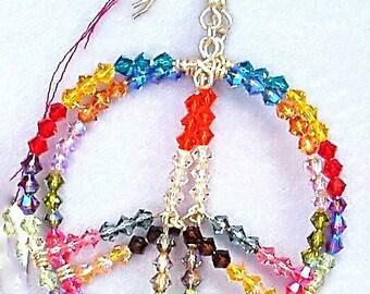 Bohemian Luv Sterling Silver Peace Earrings - multi colored Swarovski Crystals