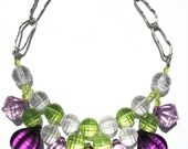 Purple green clear acrylic handmade statement necklace