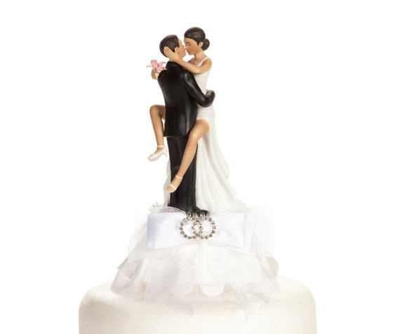 Funny Sexy Rhinestone African American Wedding Rings Cake Topper - Custom Painted Hair Color Available - 100065AA