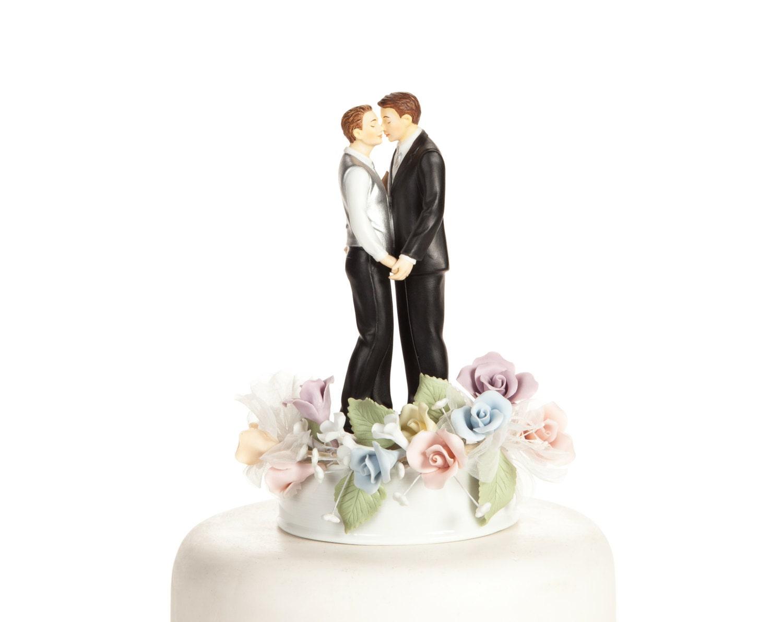 Pastel Rose Gay Wedding Cake Topper Custom Painted Hair