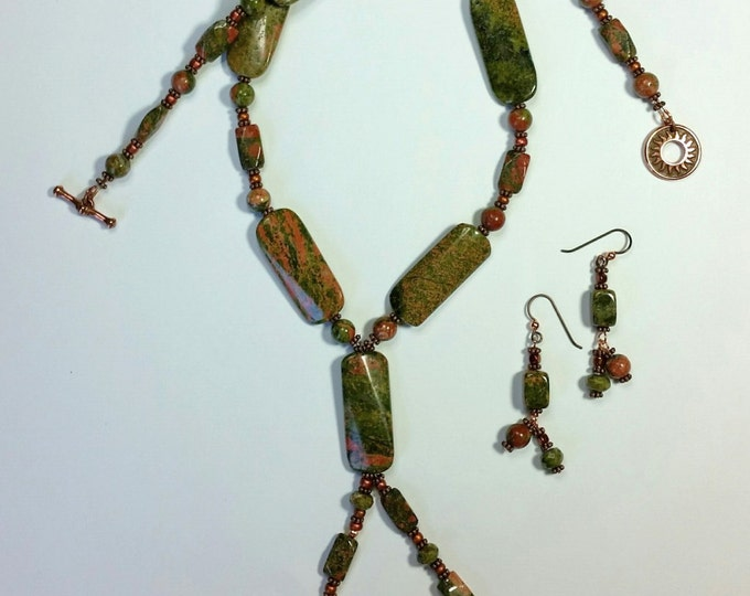 Unakite and Copper Lariat Style Necklace and Double Drop Matching Earrings