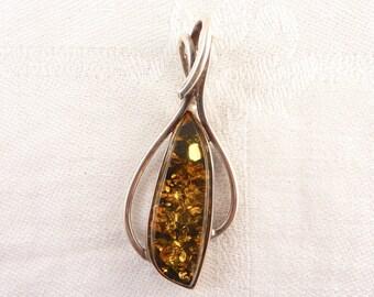 Vintage Elongated Polish Amber Sterling Pendant