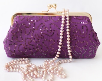 Eggplant Mauve Sequins Clutch | Bridesmaids & Mother's Purse