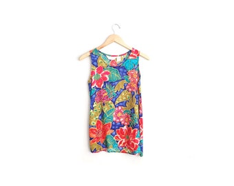 SALE // TROPICAL FLORAL Tank Top - Vibrant Print - Rayon Tunic - Vintage '90s. Size S.