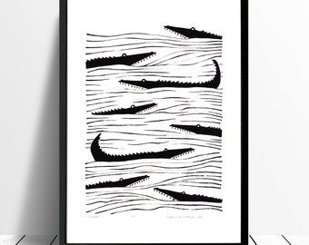 Crocodiles Limited Edition Screen Print (Black) A3 size
