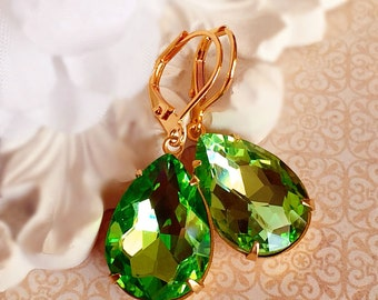 August Birthstone Gift - Peridot - Victorian Earrings - Crystal - CAMBRIDGE Peridot