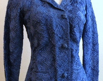 1950s CALEDONIA Gorgeous Blue RIBBON Jacket size Small to Medium