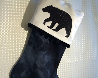 Glitzy Black Bear Stocking