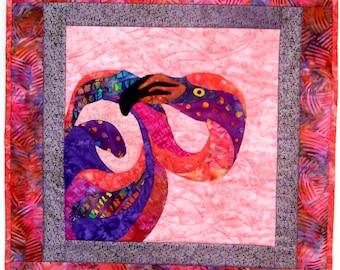 Wall Art Quilt Flamingo Batik Applique Tropical Beach House Florina Coral Purple Orange Pink Dots Origina Design