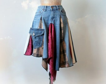 Tattered Boho Skirt Bohemian Gypsy Festival Clothes Upcycled Jeans Women's Art Skirt Chic Eco Fashion Layered Draped Denim Skirt S M 'NOMI'