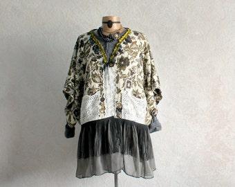 Shabby Vintage Plus Size Jacket Eco Art Clothing French Paris Green Brocade Boho Jacket Fringed Coat Women's Chic Clothes 1X XL 'KATRINE'