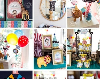 Circus Party Decorations, Circus Birthday Party Decor, Circus Party Collection, Your Custom Photo, Vintage Circus