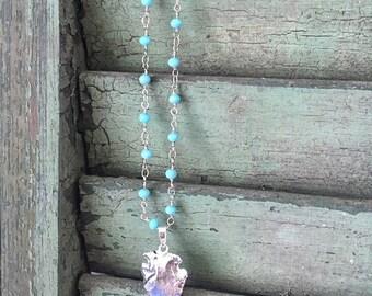 Silver Arrowhead necklace, arrowhead necklace, rosary necklace, bohemian jewelry