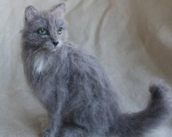 Needle Felted Cat Pet Portait, Grey