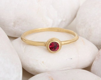 Gold Birthstone Ring. Stacking Ring. Stackable January February March April May June July August September October November December