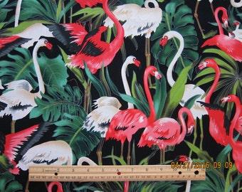 SALE 40% OFF through 8/1 - FLAMINGO Fabric Flamingo Foliage Fabric Michael Miller 1 Yard - Very rare