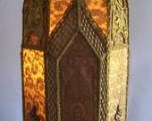 Gothic French Fleur De Lys Cathedral Floor Lamp Vestment Framed Angels Antique Vintage