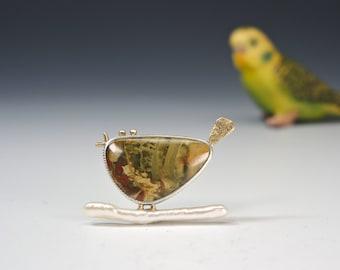 Bird Brooch, Morrisonite Jasper, Stick Pearl, Silver and Gold, Green Bird Pin, Whimsical Bird Brooch, Bird Lover