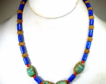 Egyptian Revival Scarab Necklace, Deep Lapis Lazuli, Italian Coral, Egyptian Faiance Scarabs, Filigree Gold, OOAK , Recycled Ecochic Beads