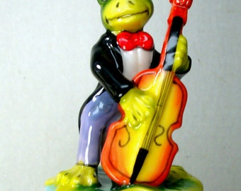 Frog Box, Toad Musician Box, Porcelain Trinket Box, Painted, 1980s Bass Fiddle Player, Green Frog in a Suit, Faux Limoges Box, Hinged  Box