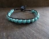 Wrap Bracelet Turquoise Bracelet  Southwestern Wrap Bracelet  Bohemian Bracelet  Beaded Bracelet  Leather Jewelry Unisex Bracelet