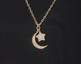 Moon and Star Necklace in Gold or Silver