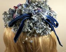 Mr. Martin Vintage Spring Half Hat, 1950-60s Bonnet w/combs, Beautiful Blue Garden Flowers