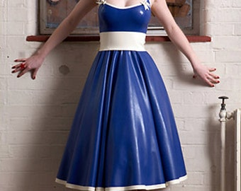 Lady Lucie Latex 50s Circle Dress & Bow Belt