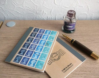 British Blue A6 Notebook, Lined Journal | Gift for Postman | upcycled writing book | recycled GB Machin stamps | penpal, letter writer gift