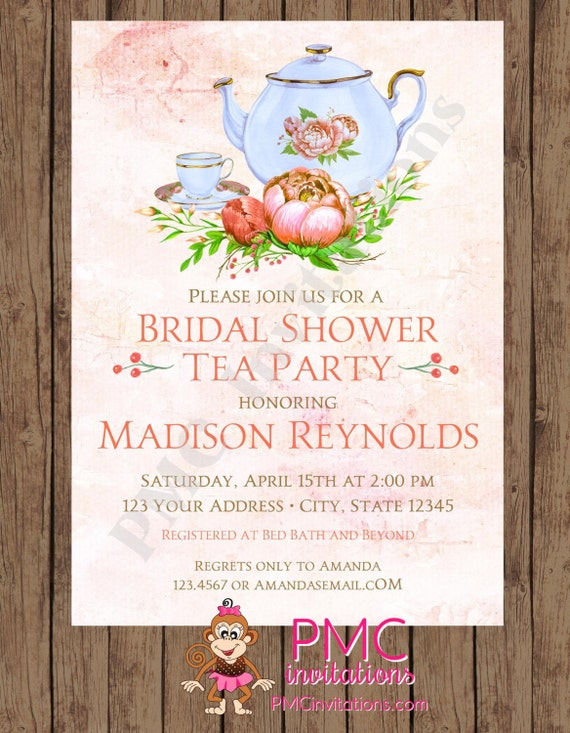 CUSTOM PRINTED Watercolor Floral Bridal Shower Tea Party Invitations