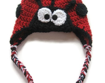 Crocheted Red and Black Ladybug Earflap Baby Hat - Size 6 to 12 Months - Lady Bug Photo Prop Hat - Lady Bug Halloween Hat