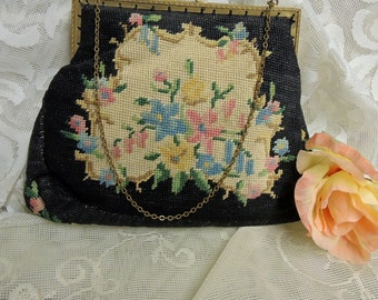 Vintage Tapestry Needlepoint Handbag - 1930's Tapestry Bag - Needlepoint Floral Handbag