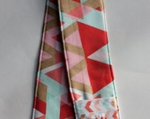 Camera Strap Cover with lens cap pocket and padding included - Monogrammed Abstract/ Chevron Pocket